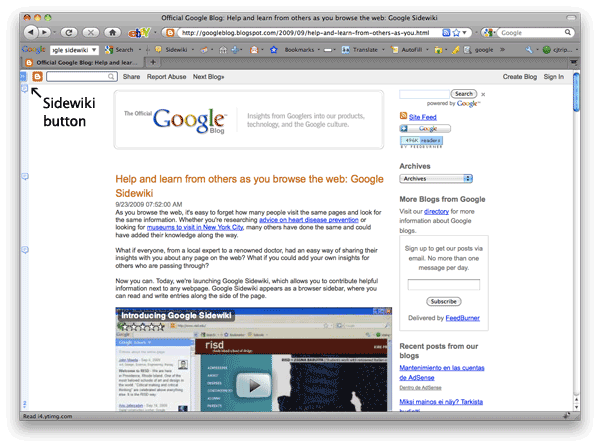 Screenshot of Google Blog with Sidewiki turned off.