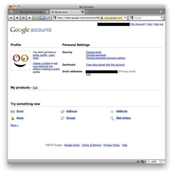 Screen shot of Google Accounts: My Account page.