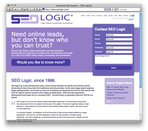 New version of SEOLogic.com website, launched September 28, 2011.