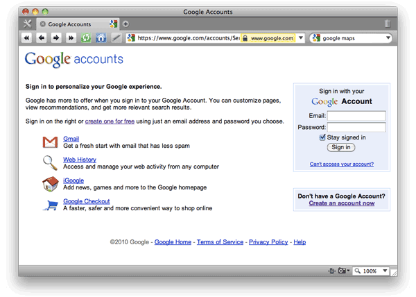 Screen shot of Google Accounts: Create Your Account page.
