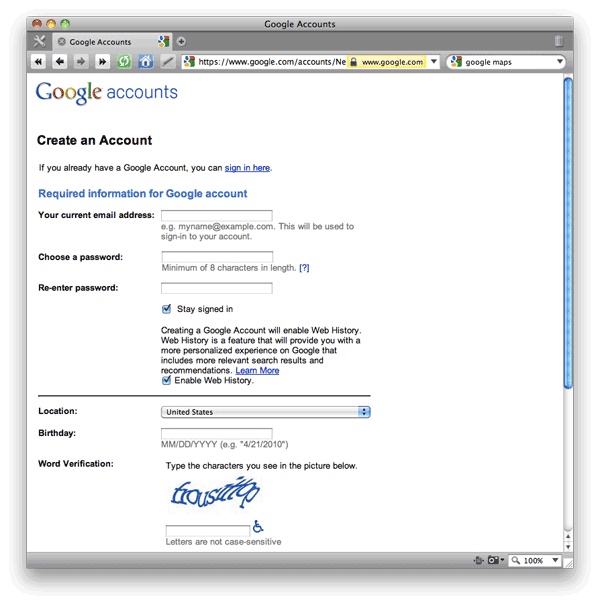Screen shot of Google Accounts Sign-Up Form page.